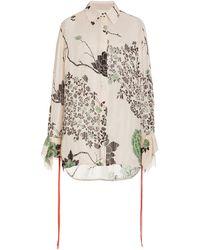 Victoria, Victoria Beckham Floral Flounce-cuff Crepe Shirt - Multicolour