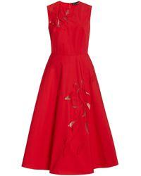 Oscar de la Renta Laser-cut Cotton Midi Dress - Red