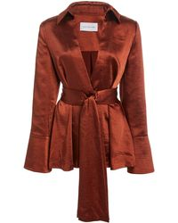 Significant Other Aura Belted Satin Top - Brown