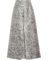 Andrew Gn Floral Brocade A-line Midi Skirt - Metallic