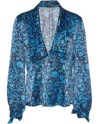 Zac Posen Floral-print Silk Blouse - Blue