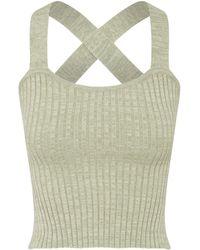 Anna Quan Linnea Ribbed-knit Cotton Singlet - Green
