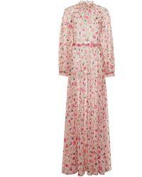 Luisa Beccaria - Floral-print Georgette Maxi Dress - Lyst
