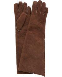 Maison Fabre Fleece-trimmed Shearling Gloves - Brown