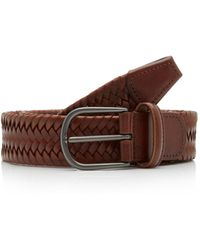 Andersons Woven Textured-leather Belt - Brown