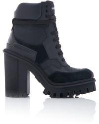 Dolce & Gabbana Leather Platform Ankle Boots - Black