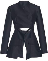 A.W.A.K.E. MODE Cutout Wool-silk Wrap Jacket - Black