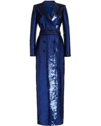 Zuhair Murad Double-breasted Sequined Blazer Dress - Blue