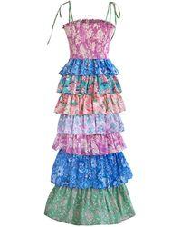 Alix Of Bohemia Sweet Jane Tiered Cotton Dress - Blue