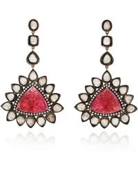 Amrapali 14k Gold Tourmaline And Diamond Earrings - Red