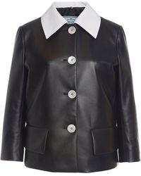 Prada Two-tone Leather Jacket - Black