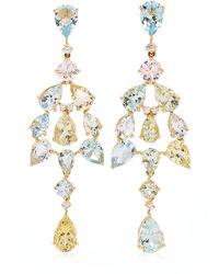Goshwara 18k Yellow Gold Aquamarine, Diamond Earrings - Metallic