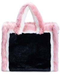 Stand Studio Lola Large Color-block Faux-fur Tote - Pink