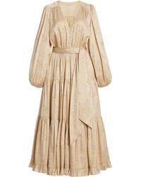 Ulla Johnson Helena Silk-lurex Midi Dress - Natural