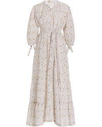 Hannah Artwear Camellia Floral Linen Maxi Dress - Multicolour