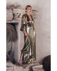 Cult Gaia Hera Cutout Silk-blend Lamé Gown - Metallic