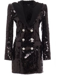 Balmain Sequined Hooded Double-breasted Crepe Mini Dress - Black