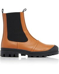 Loewe Rubber-paneled Leather Chelsea Boots - Brown