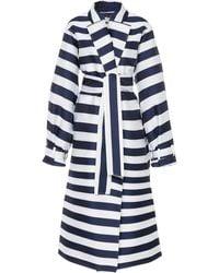 Maison Rabih Kayrouz Belted Striped Satin Coat - Blue