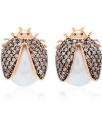 Carolina Neves 18k Rose Gold, Pearl And Diamond Earrings - Brown
