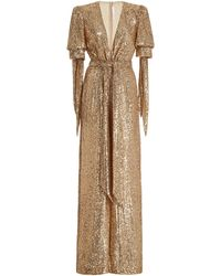 Naeem Khan Exclusive Belted Sequined Wrap-effect Jumpsuit - Metallic
