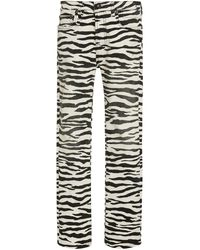 R13 Kick Fit Zebra-print Jeans - Multicolour