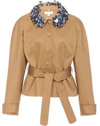 Delpozo Belted Embellished Cotton-twill Jacket - Brown