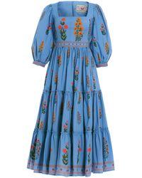 Agua by Agua Bendita Miel Dahlia Cotton-poplin Midi Dress - Blue