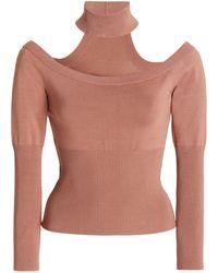 Jonathan Simkhai Lila Off-the-shoulder Ribbed-knit Top - Brown