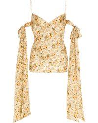 Markarian Beatrice Floral Satin Bow Tie Arm Top - Metallic