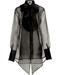 Victoria Beckham Bibbed Silk-organza Tie-neck Shirt - Black