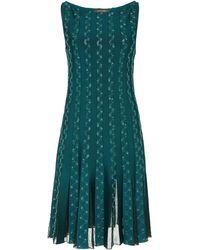 Zac Posen Embroidered Lace-panelled Mini Dress - Green