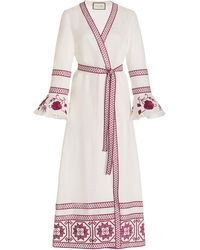 Alexis Mahita Embroidered Linen Maxi Robe Dress - Pink