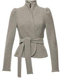 Lena Hoschek Dorothea Belted Wool-cashmere Jacket - Grey