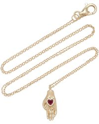 Pamela Love Heart In Hand 14k Yellow Gold Ruby Necklace - Red