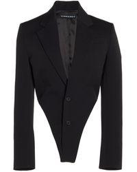 Y. Project Wool Single-breasted Blazer Bodysuit - Black