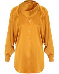 Matériel Silk-blend Blouse - Orange