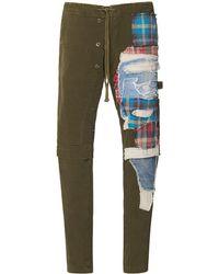 Greg Lauren Slim Patchwork Cotton Pants - Green