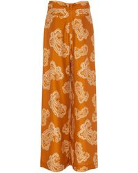 Zimmermann Wavelength Printed Silk Wide-leg Trousers - Orange