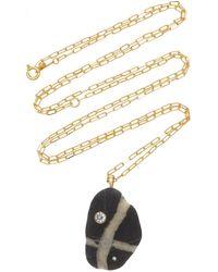 CVC Stones One-of-a-kind Bridge 18k Gold Beach Stone Necklace - Black