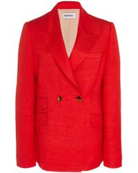 Partow Rose Double-breasted Linen Jacket - Red