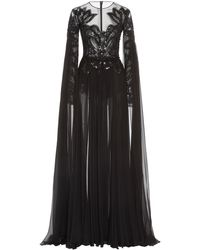 Zuhair Murad Pamplona Cape-effect Embroidered Silk-chiffon Gown - Black