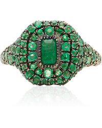 SHAY - 18k Yellow Gold Pave Emerald Pinky Ring - Lyst