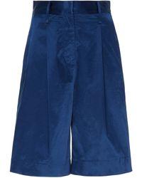 STAUD Noah Satin Bermuda Shorts - Blue