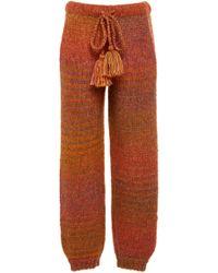 LoveShackFancy Blossom Knit Multicolor Pant - Brown