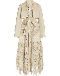 Jonathan Simkhai Yani Handkerchief Crochet Suede Coat - White