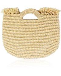 Sensi Studio Wool-trimmed Straw Handle Bag - Metallic