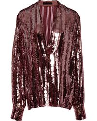 Sally Lapointe - Striped Sequined Blouse - Lyst