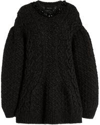 Simone Rocha Crystal-embellished Cable-knit Jumper - Black