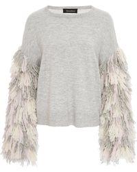Tabula Rasa Berber Fringe Sleeve Sweater - Grey